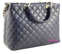 Handbag Bliss Italian Leather Large Quilted  Handbag & Shoulder Bag
